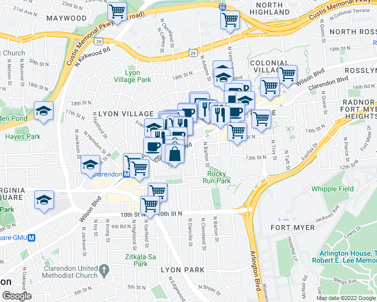 map of restaurants, bars, coffee shops, grocery stores, and more near 2627 Fairfax Drive in Arlington