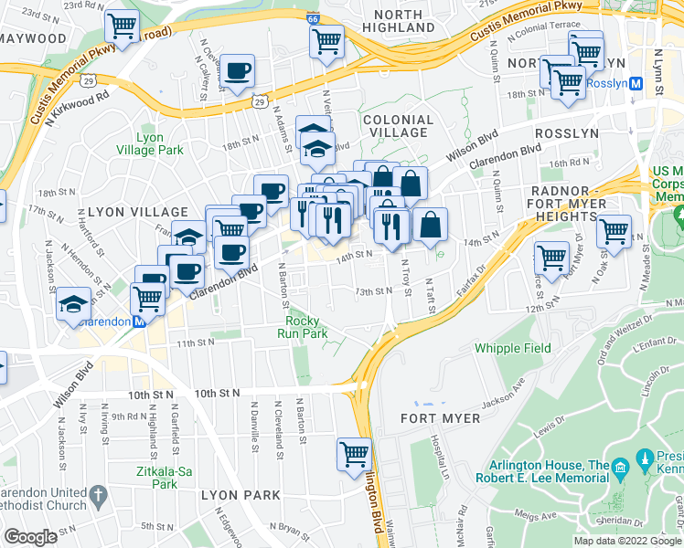 map of restaurants, bars, coffee shops, grocery stores, and more near 1320 North Veitch Street in Arlington