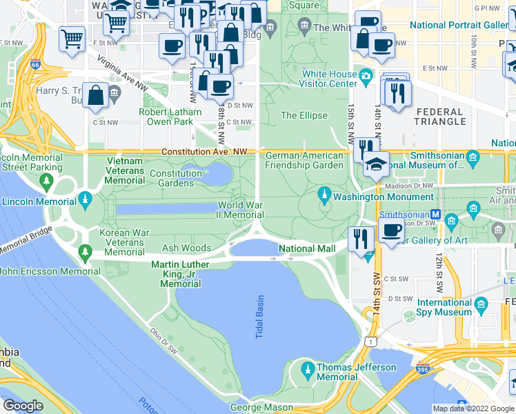 map of restaurants, bars, coffee shops, grocery stores, and more near 17th Street Southwest in Washington