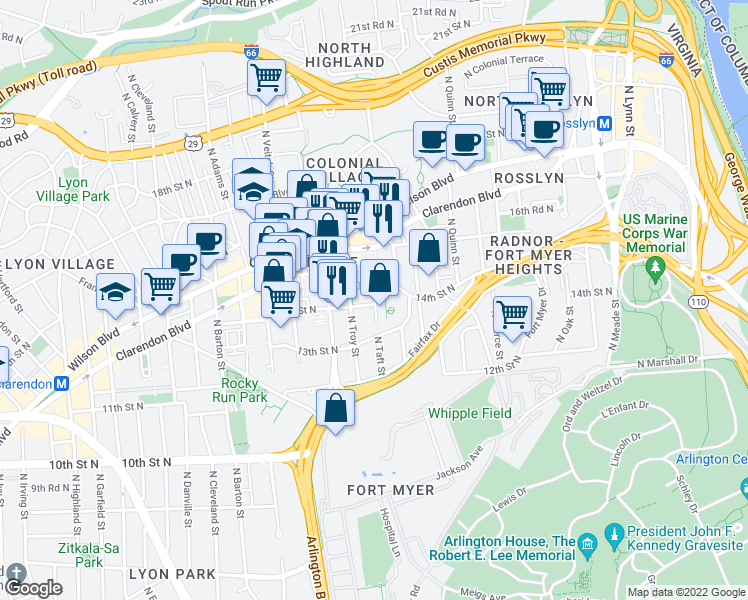 map of restaurants, bars, coffee shops, grocery stores, and more near 1400-1498 North Taft Street in Arlington