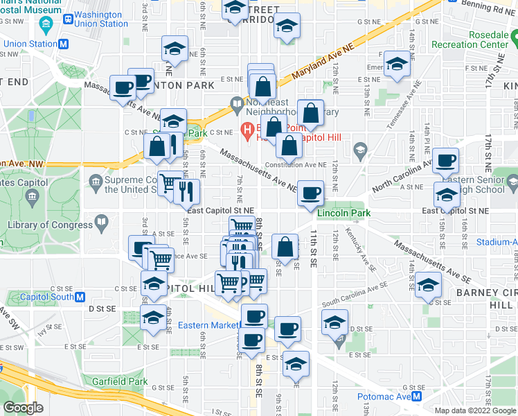 map of restaurants, bars, coffee shops, grocery stores, and more near 3 8th St NE in Washington