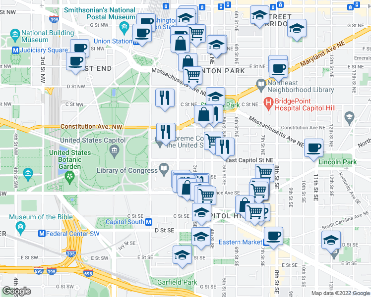 map of restaurants, bars, coffee shops, grocery stores, and more near 8 Terrace Court Northeast in Washington