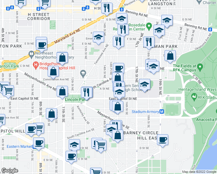 map of restaurants, bars, coffee shops, grocery stores, and more near 1414 A Street Northeast in Washington