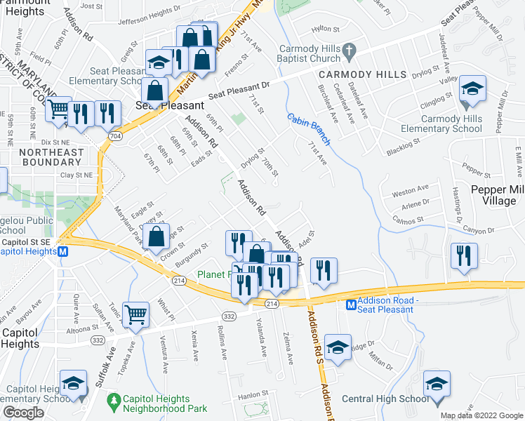 map of restaurants, bars, coffee shops, grocery stores, and more near 6203 Addison Road in Capitol Heights