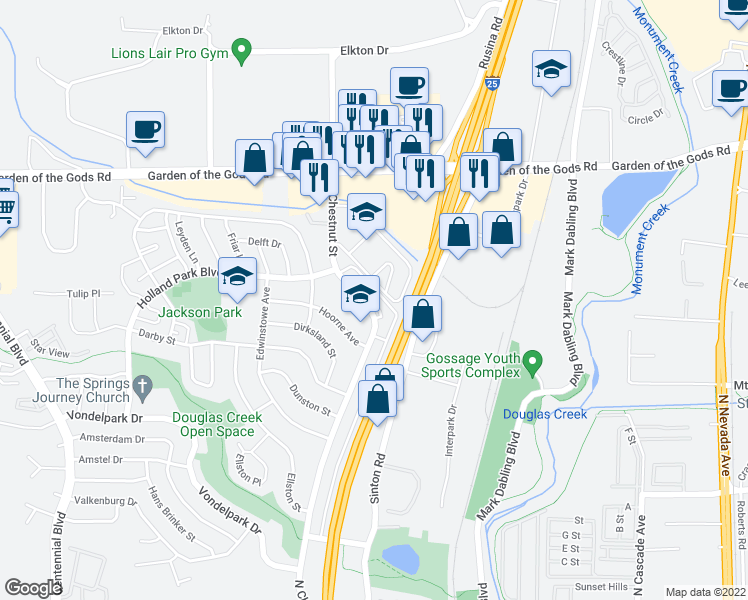 map of restaurants, bars, coffee shops, grocery stores, and more near 4331 North Chestnut Street in Colorado Springs