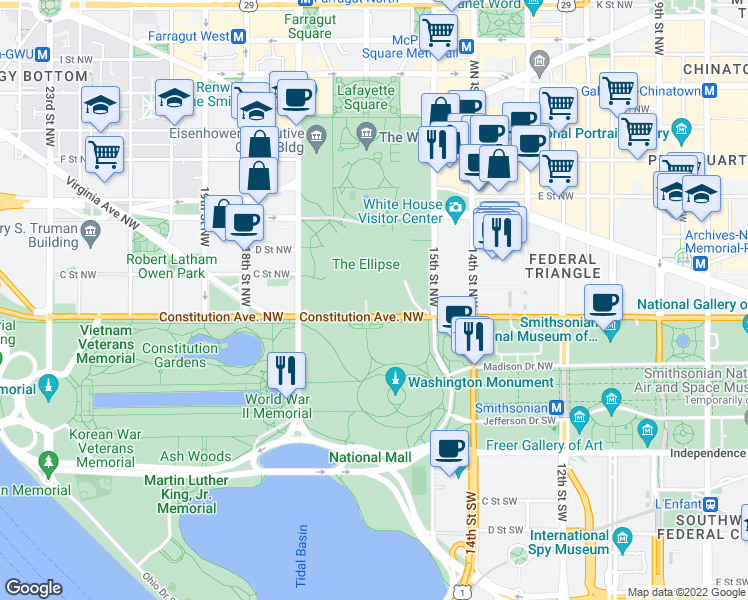 map of restaurants, bars, coffee shops, grocery stores, and more near Ellipse Road Northwest in Washington