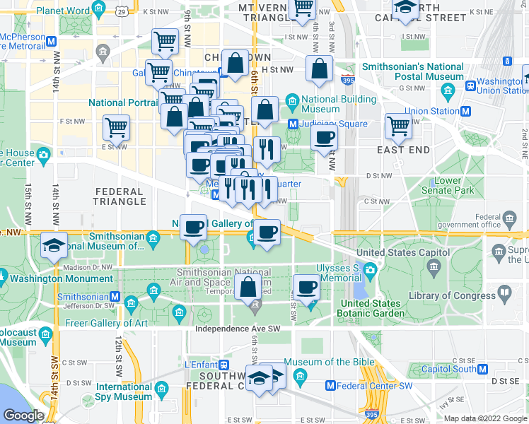 map of restaurants, bars, coffee shops, grocery stores, and more near 565 Pennsylvania Avenue Northwest in Washington