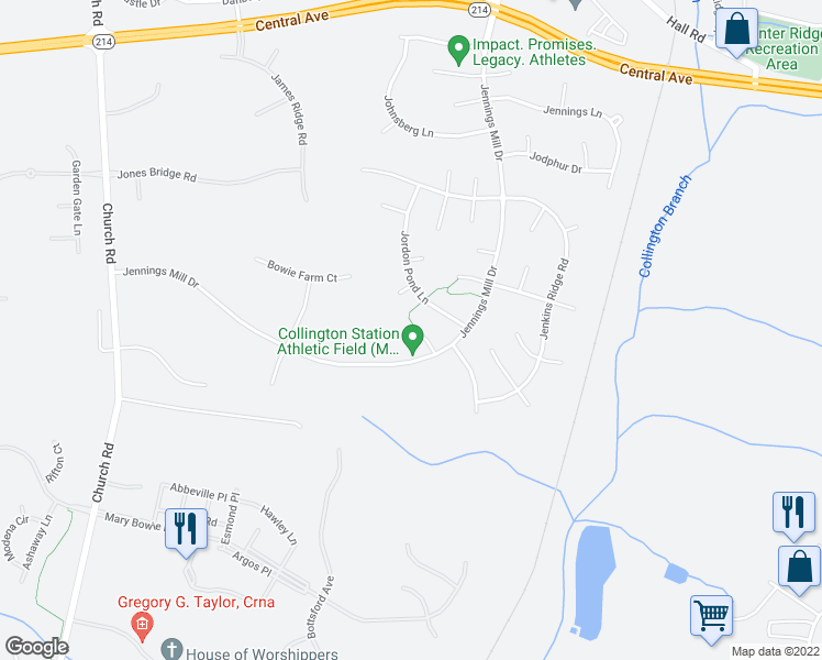 map of restaurants, bars, coffee shops, grocery stores, and more near 15004 Jorrick Court in Bowie