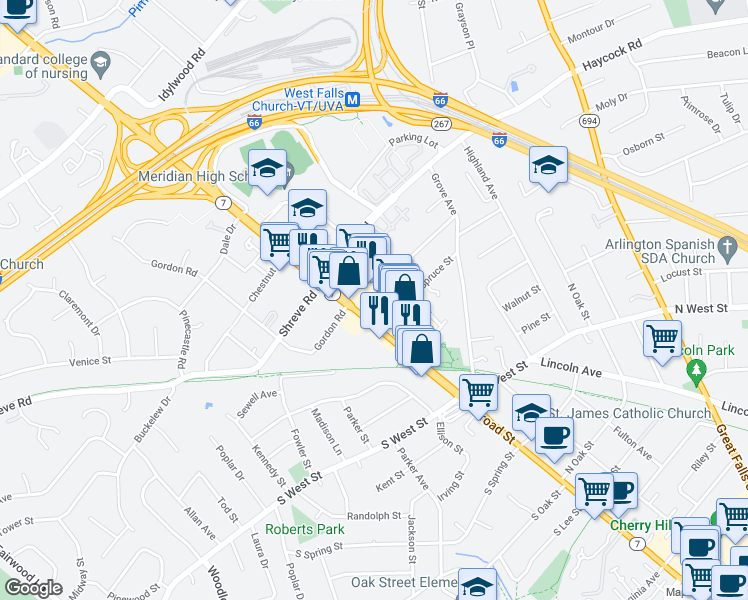 map of restaurants, bars, coffee shops, grocery stores, and more near 138 Birch Street in Falls Church