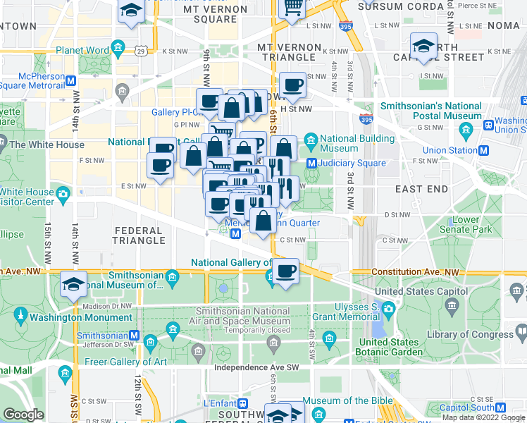 map of restaurants, bars, coffee shops, grocery stores, and more near 631 D Street Northwest in Washington