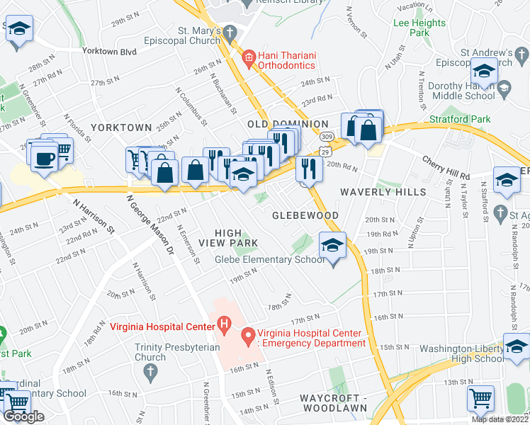 map of restaurants, bars, coffee shops, grocery stores, and more near North Buchanan Street in Arlington