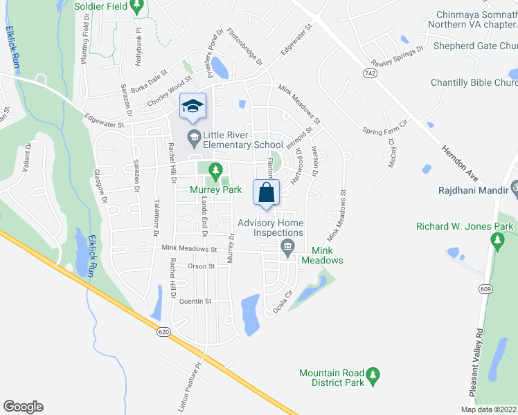 map of restaurants, bars, coffee shops, grocery stores, and more near 26097 Nimbleton Square in Chantilly