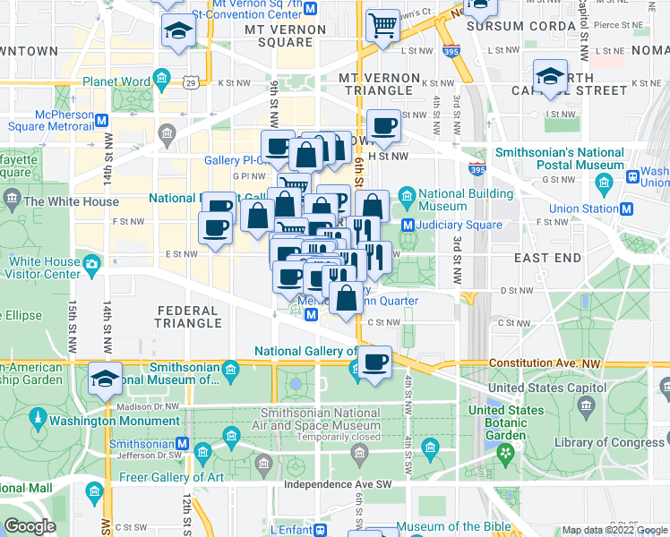 map of restaurants, bars, coffee shops, grocery stores, and more near 616 E Street Northwest in Washington
