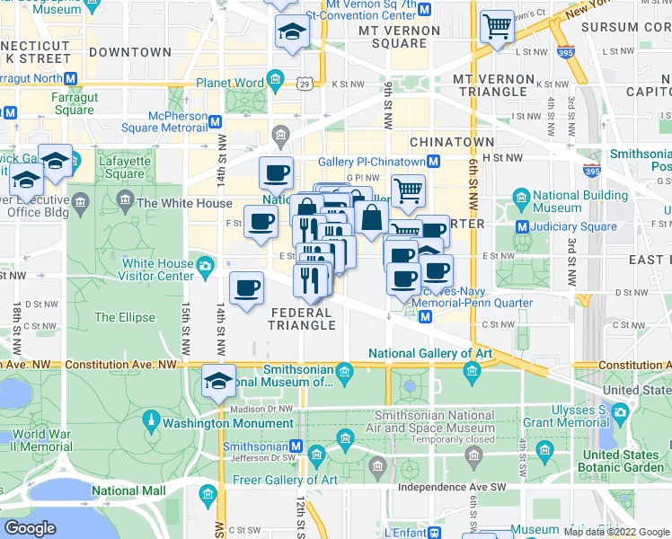 map of restaurants, bars, coffee shops, grocery stores, and more near 1001 Pennsylvania Avenue Northwest in Washington