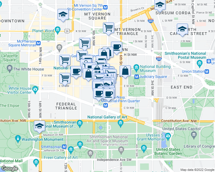 map of restaurants, bars, coffee shops, grocery stores, and more near 7th Street Northwest & E Street Northwest in Washington
