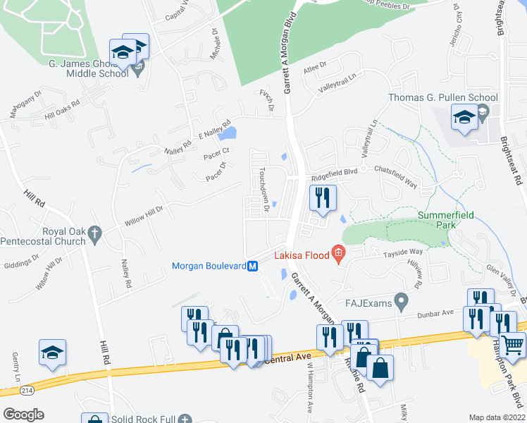 map of restaurants, bars, coffee shops, grocery stores, and more near 509 Touchdown Drive in Hyattsville