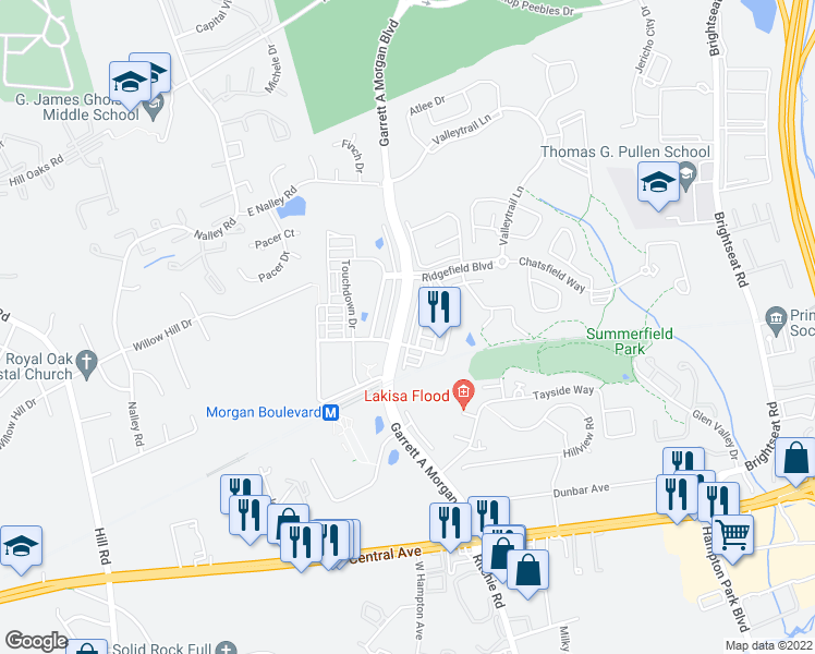 map of restaurants, bars, coffee shops, grocery stores, and more near 522 Garrett A. Morgan Boulevard in Hyattsville