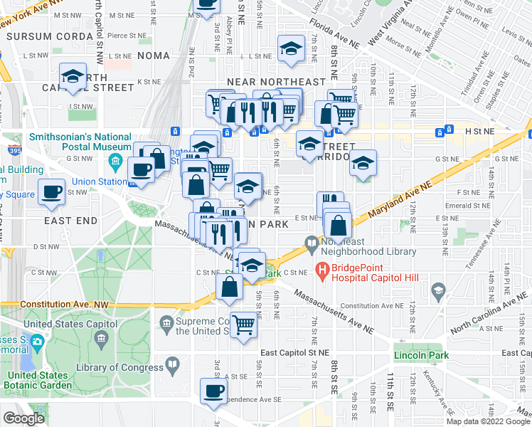 map of restaurants, bars, coffee shops, grocery stores, and more near 506 E Street Northeast in Washington