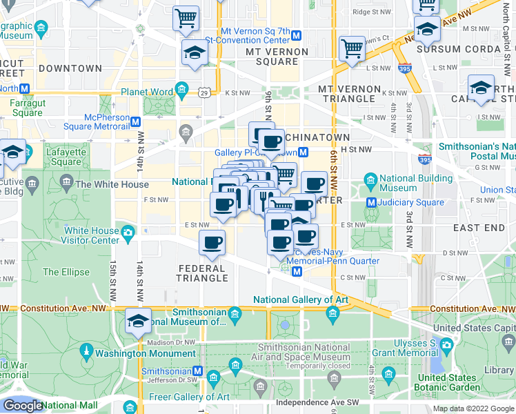 map of restaurants, bars, coffee shops, grocery stores, and more near 912 F Street Northwest in Washington