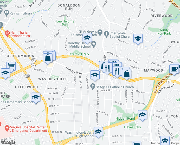 map of restaurants, bars, coffee shops, grocery stores, and more near Lee Hwy & N Stafford St in Arlington