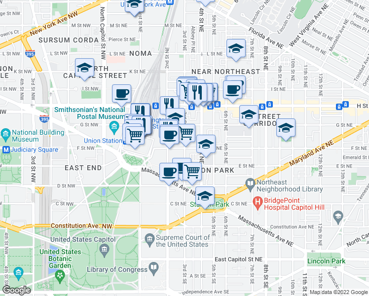 map of restaurants, bars, coffee shops, grocery stores, and more near F Street Northeast & 3rd Street Northeast in Washington