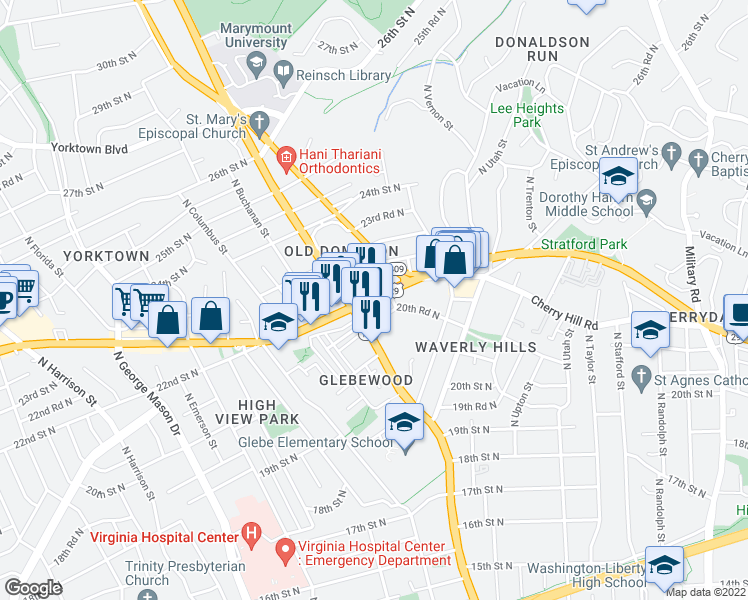 map of restaurants, bars, coffee shops, grocery stores, and more near Lee Highway in Arlington