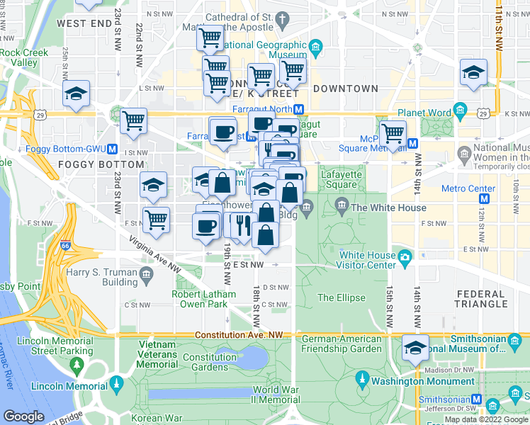 map of restaurants, bars, coffee shops, grocery stores, and more near 1776 G Street Northwest in Washington