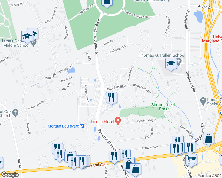 map of restaurants, bars, coffee shops, grocery stores, and more near Ridgefield Boulevard in Hyattsville