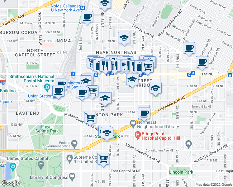 map of restaurants, bars, coffee shops, grocery stores, and more near 609 Morris Place Northeast in Washington