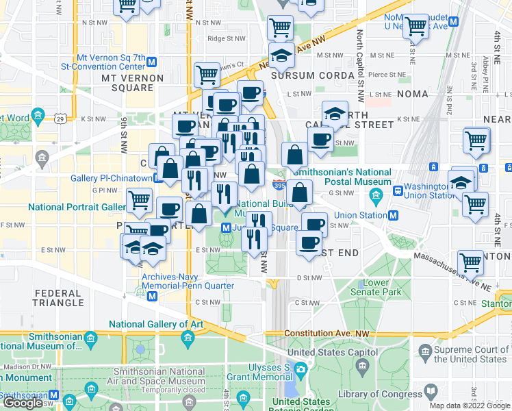 map of restaurants, bars, coffee shops, grocery stores, and more near 350 G Street Northwest in Washington