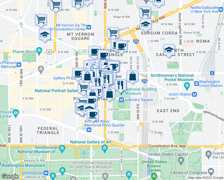 map of restaurants, bars, coffee shops, grocery stores, and more near 5th Street Northwest & G Street Northwest in Washington