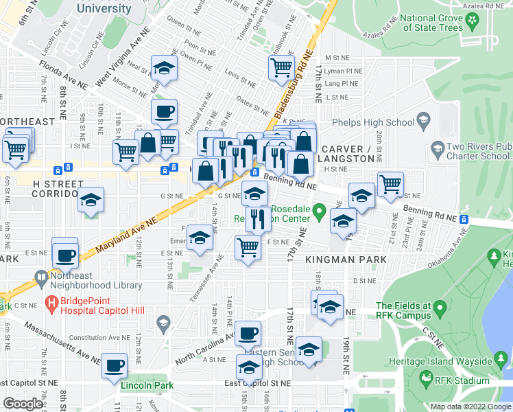 map of restaurants, bars, coffee shops, grocery stores, and more near 601 15th Street Northeast in Washington