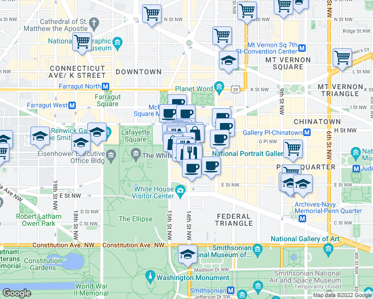 map of restaurants, bars, coffee shops, grocery stores, and more near 700 14th Street Northwest in Washington