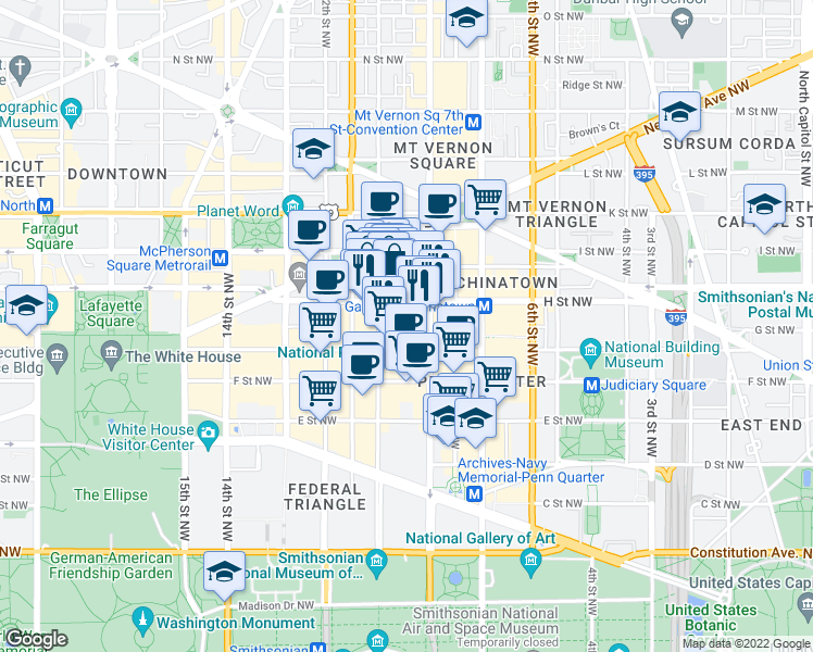map of restaurants, bars, coffee shops, grocery stores, and more near 916 G Place Northwest in Washington