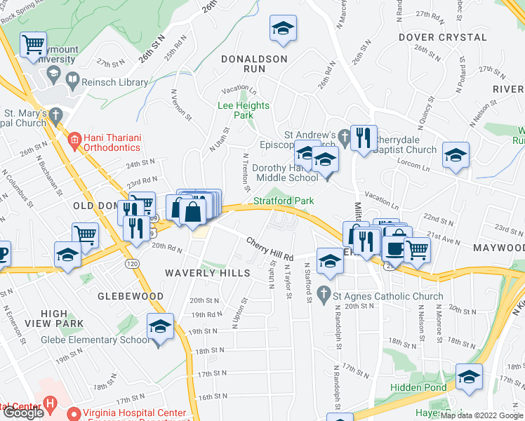 map of restaurants, bars, coffee shops, grocery stores, and more near 4344 Old Dominion Drive in Arlington