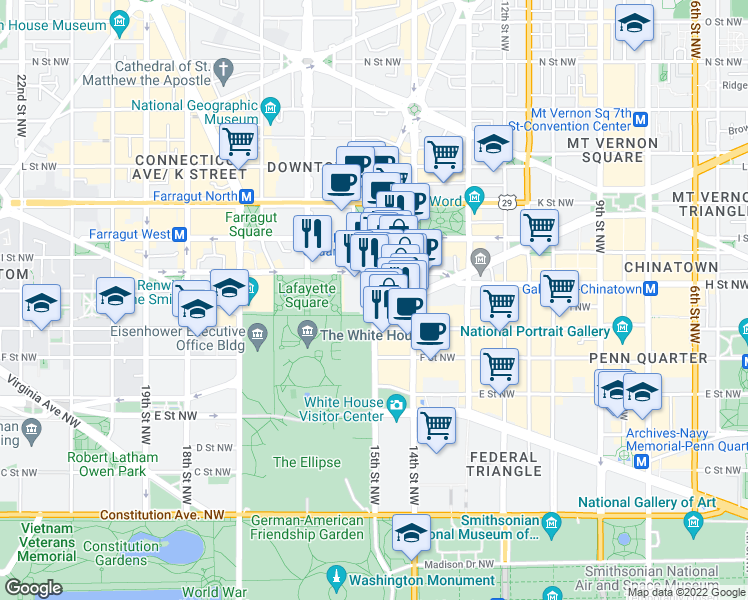 map of restaurants, bars, coffee shops, grocery stores, and more near 730 15th Street Northwest in Washington