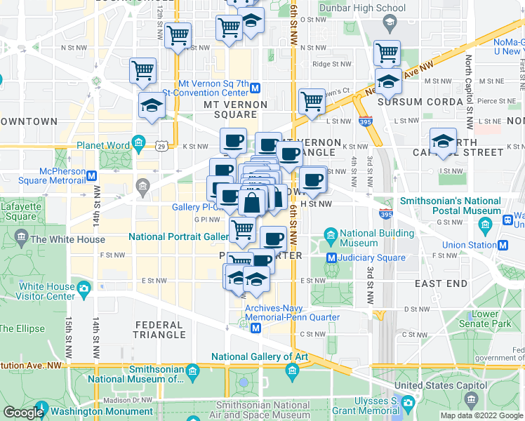 map of restaurants, bars, coffee shops, grocery stores, and more near 777 7th Street Northwest in Washington