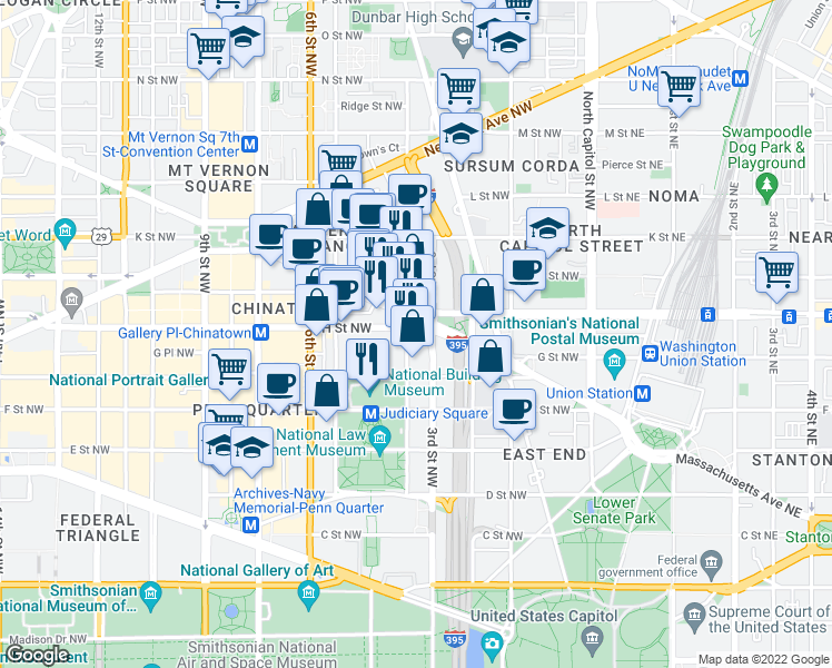 map of restaurants, bars, coffee shops, grocery stores, and more near 300 Massachusetts Avenue Northwest in Washington