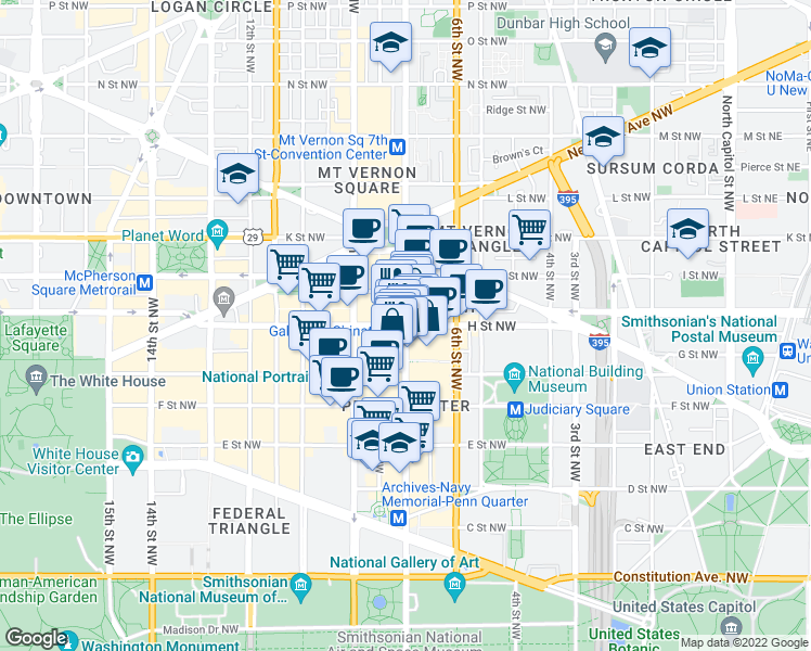map of restaurants, bars, coffee shops, grocery stores, and more near 7th St NW & H St NW in Washington