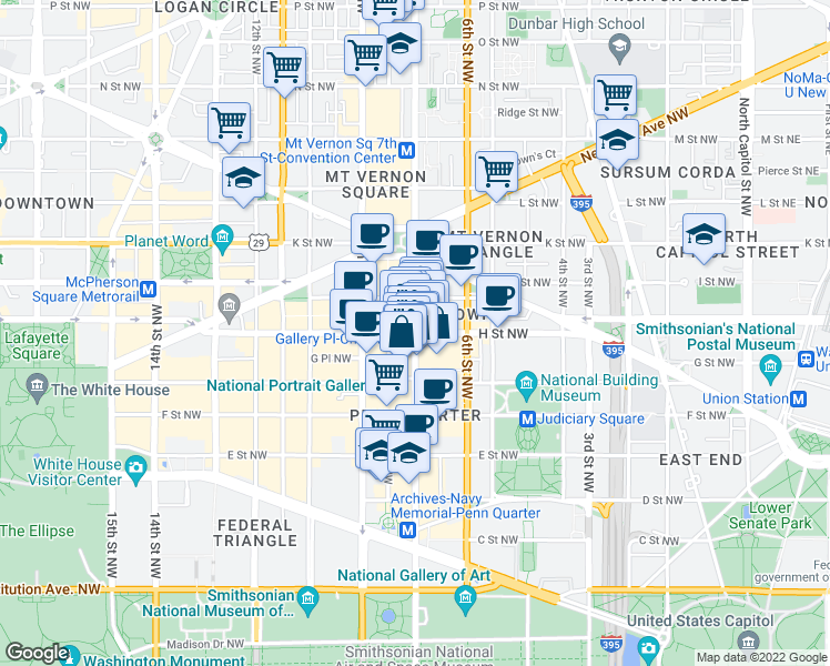 map of restaurants, bars, coffee shops, grocery stores, and more near 7th Street Northwest & H Street Northwest in Washington