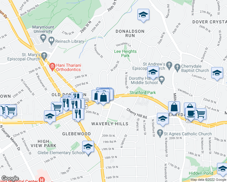map of restaurants, bars, coffee shops, grocery stores, and more near 2231 North Vermont Street in Arlington