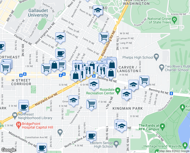 map of restaurants, bars, coffee shops, grocery stores, and more near 1507 Benning Road Northeast in Washington