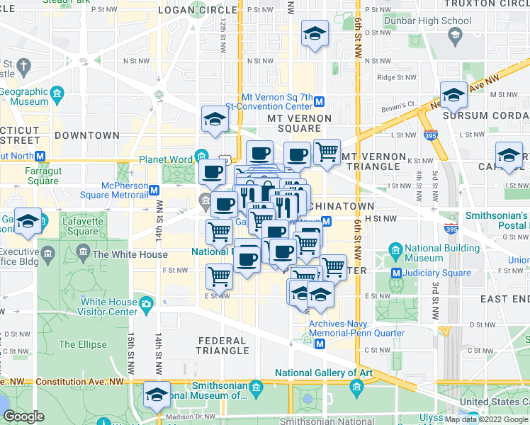 map of restaurants, bars, coffee shops, grocery stores, and more near 825 10th Street Northwest in Washington