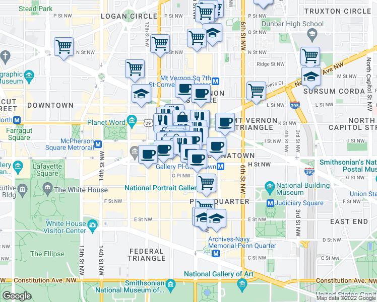 map of restaurants, bars, coffee shops, grocery stores, and more near 920 I Street Northwest in Washington