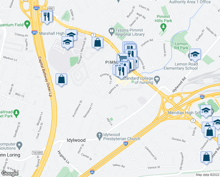 map of restaurants, bars, coffee shops, grocery stores, and more near 2206 Pimmit Run Lane in Falls Church