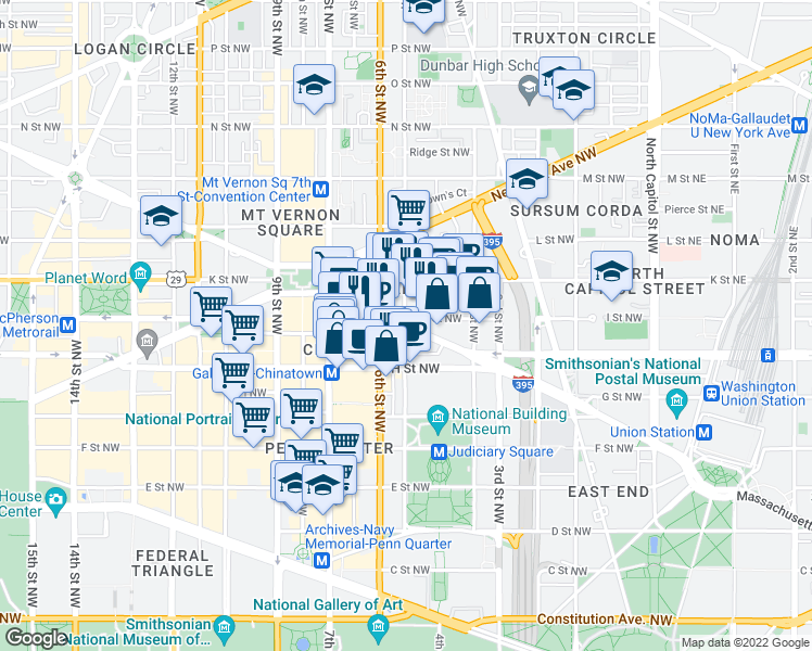 map of restaurants, bars, coffee shops, grocery stores, and more near 523 Massachusetts Avenue Northwest in Washington