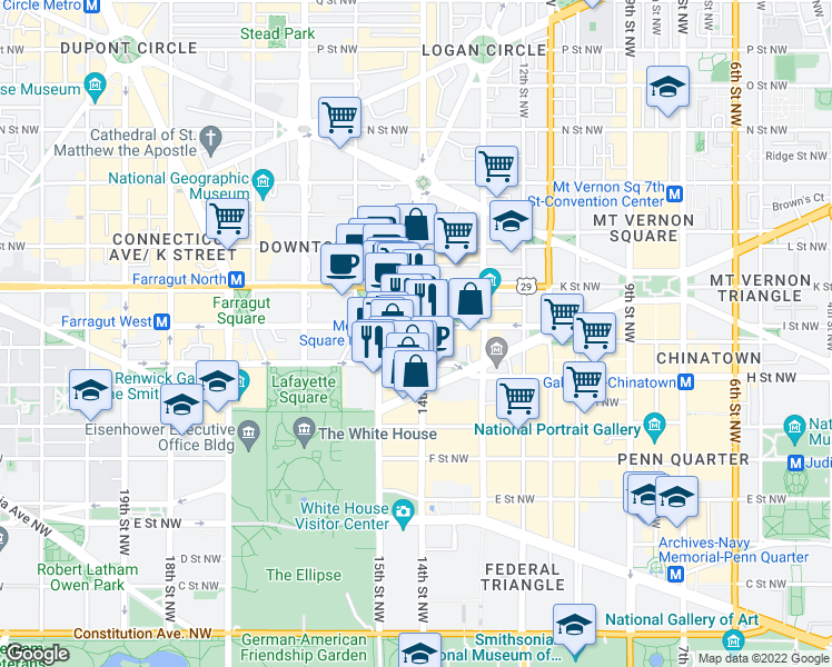 map of restaurants, bars, coffee shops, grocery stores, and more near 1400 I Street Northwest in Washington