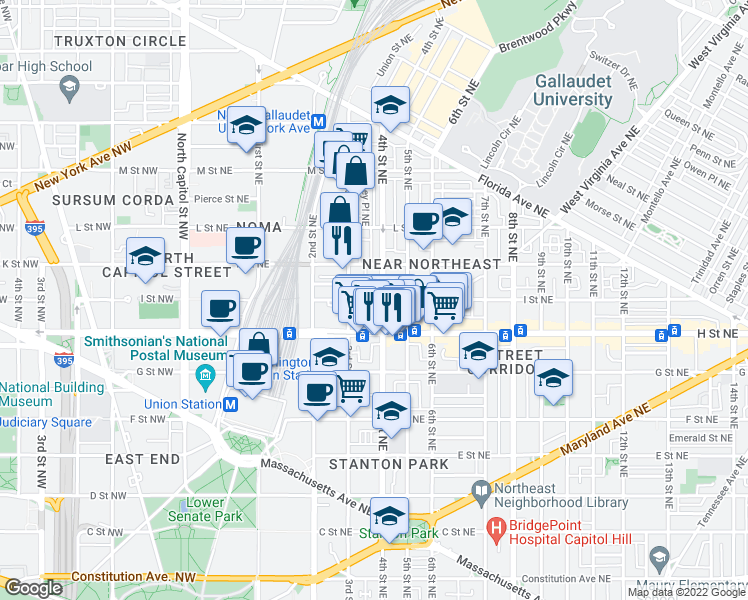 map of restaurants, bars, coffee shops, grocery stores, and more near 325 I Street Northeast in Washington