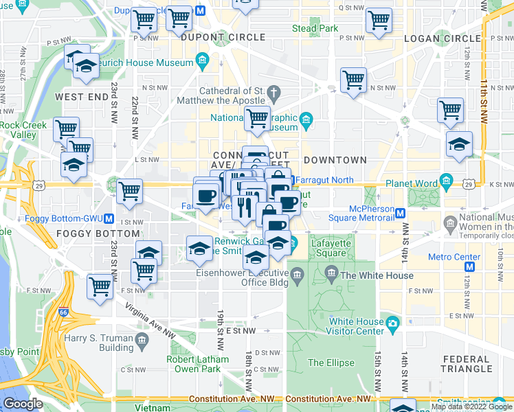map of restaurants, bars, coffee shops, grocery stores, and more near 1775 I Street Northwest in Washington