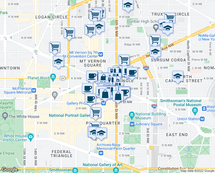 map of restaurants, bars, coffee shops, grocery stores, and more near 640 Massachusetts Avenue Northwest in Washington
